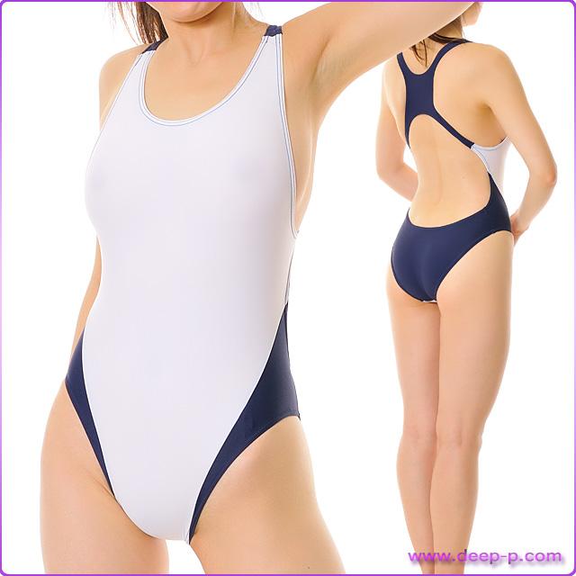 着エロ 人気の紺色と白色2色合わせ 競泳水着風プレイスーツ コスプレ 白色 【エグゼ神戸】 ■