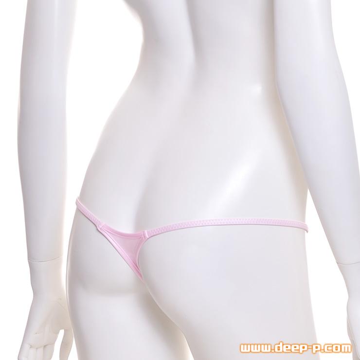 ギリッギリですよー メッチャ浅い着エロ系ミニTバックパンティー ヌメっとした光沢K2S ピンク色 | ラポーム | ●