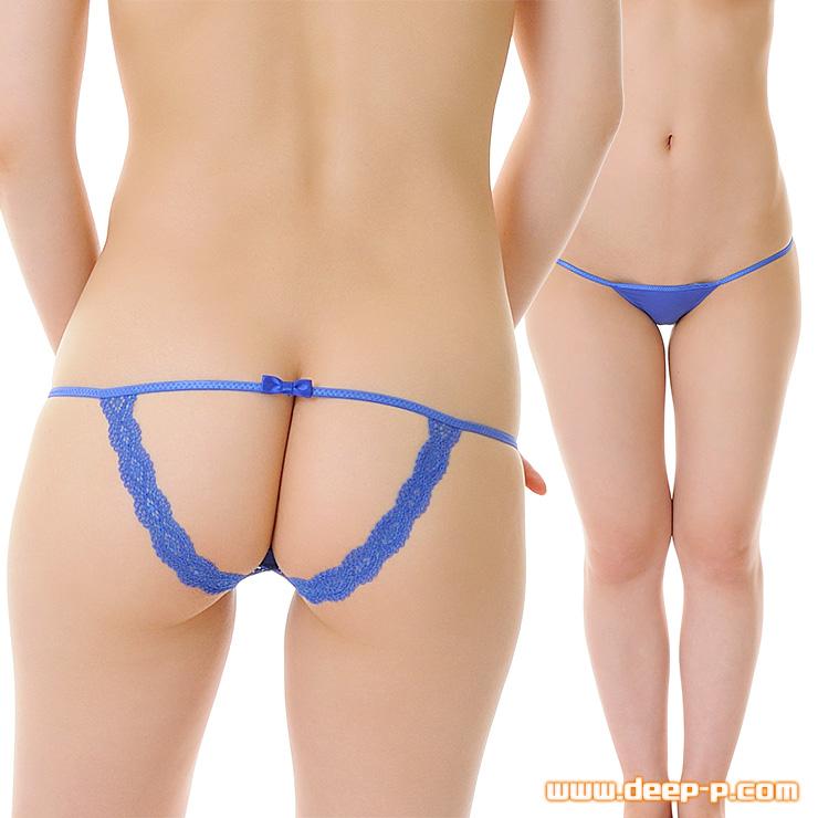 お尻リボンレースの縁取りだけ オープンバックパンティ 薄っすら透けるストライクスキン 青色   ターキー   ●