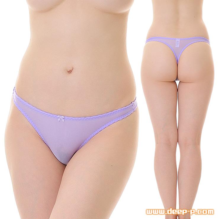 縁がピコゴムで可愛く普通っぽいTバックパンティ モチモチした感触が優しいT2M2地 薄紫色 | ターキー | ●