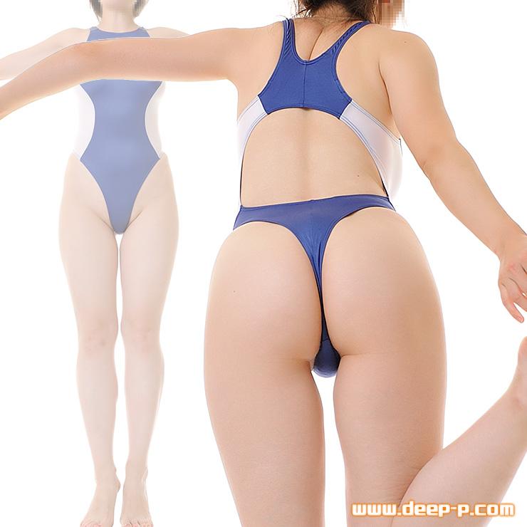 競泳水着風Tバックプレイスーツ お肌にフィットするマイクロファイバー地 紺色と白 | ラポーム | ▲