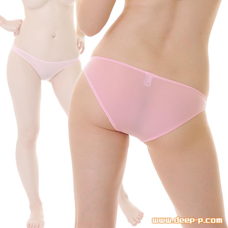 普通っぽいハーフバックパンティ 薄っすらお肌透け具合がイイ スーパーストレッチ地 ピンク色   ラポーム   ●