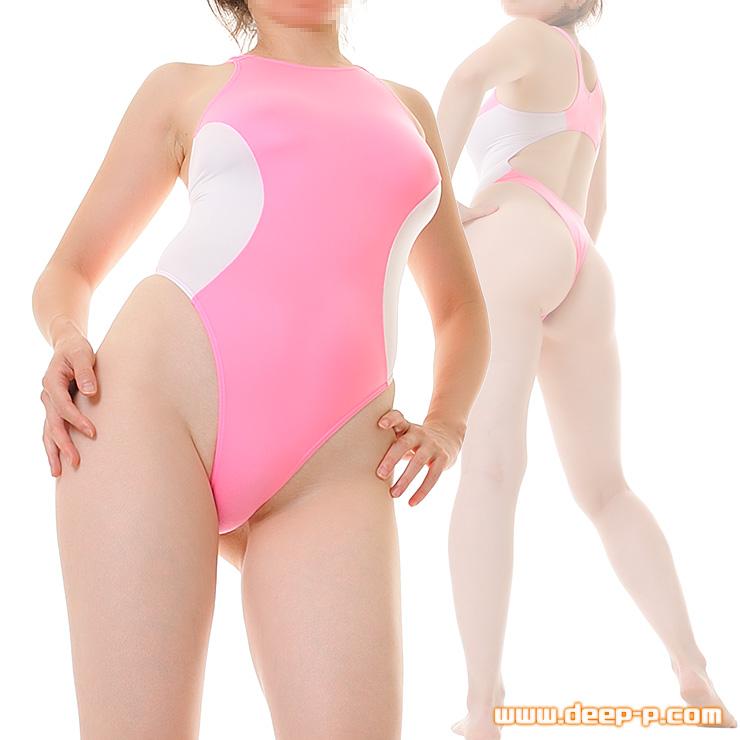 競泳水着風Tバックプレイスーツ お肌にフィットするマイクロファイバー地 ピンク色と白   ラポーム   ▲