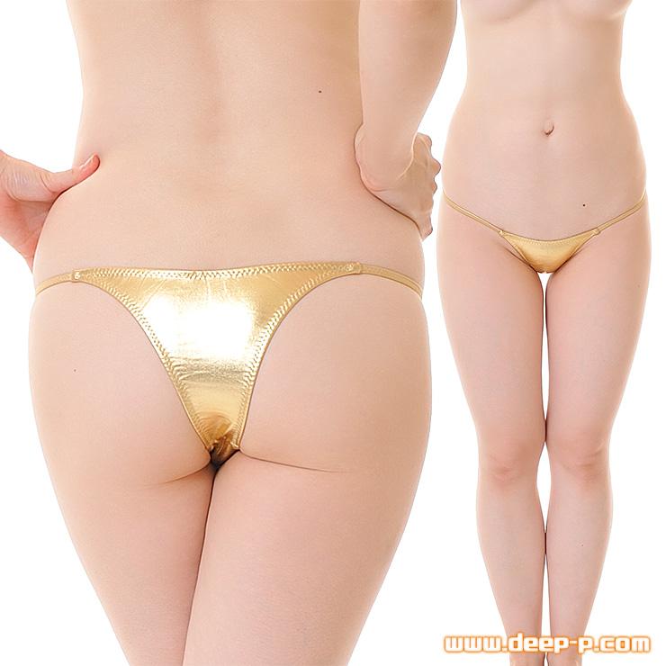 メタリック素材だから派手&綺麗! ミニリオバックパンティー 腰回りすっきりサイドライン ゴールド | ターキー | ●