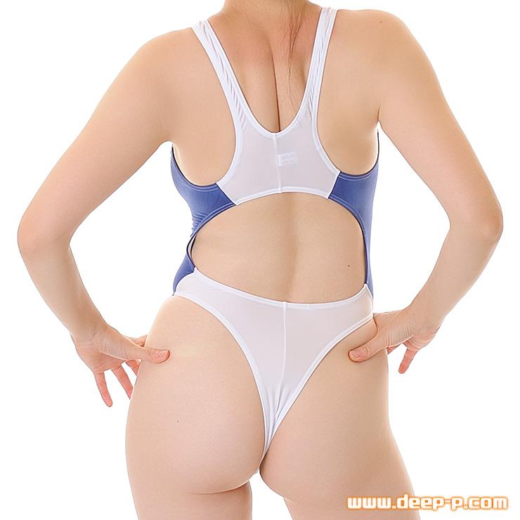 競泳水着風Tバックプレイスーツ お肌にフィットするマイクロファイバー地 白色と紺 | ラポーム | ▲