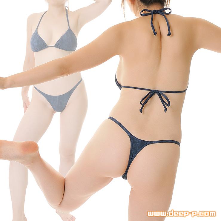 普通に水着使用可! 三角ビキニとTバックセット ダメージ風ストレッチデニム地 インディゴブルー | ターキー | ▲
