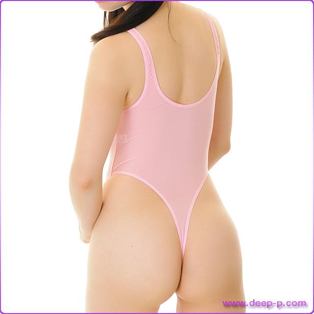 シンプルなハイレグTバックプレイスーツ 薄っすらお肌透け具合がイイ スーパーストレッチ地 ピンク色   ラポーム   ▲