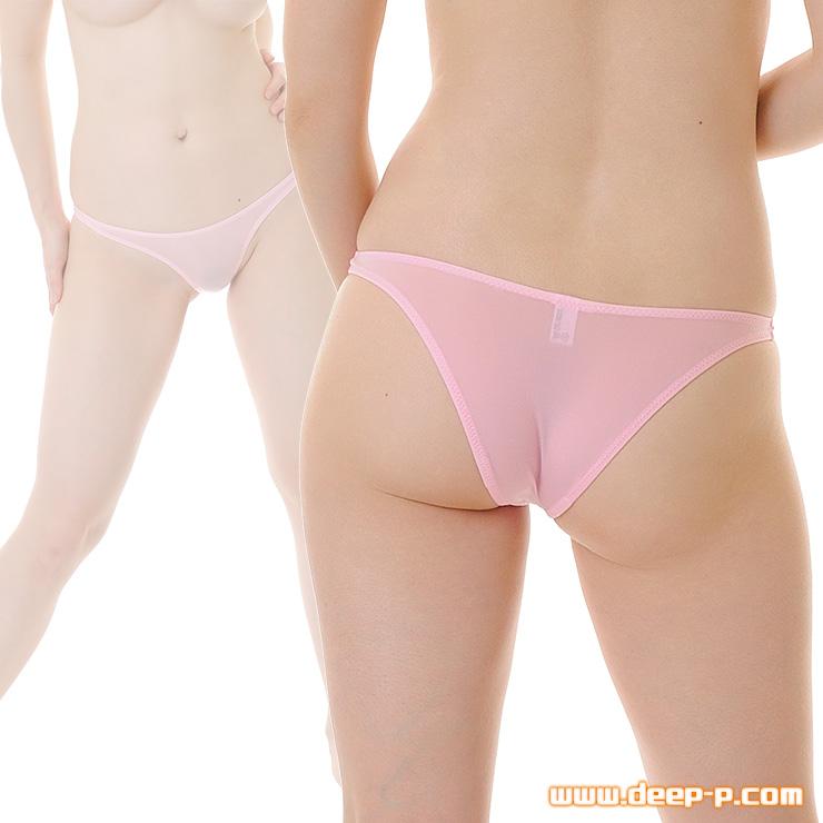 ヒップラインがシャープなハーフバックパンティ 薄っすらお肌透けるの スーパーストレッチ地 ピンク色   ラポーム   ●