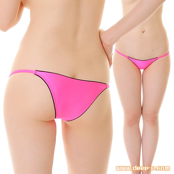 回りカラーゴム縁取り ローライズハーフバックパンティ 濡れた様な感じのスーパーウェット地 ホットピンク色 | ターキー | ●