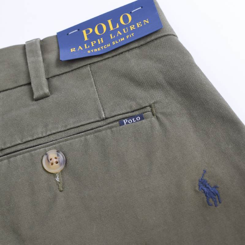 大きいサイズ メンズ ポロラルフローレン POLO RALPH LAUREN ポニー総柄 チノパン コットンパンツ オリーブグリーン 38 40インチ