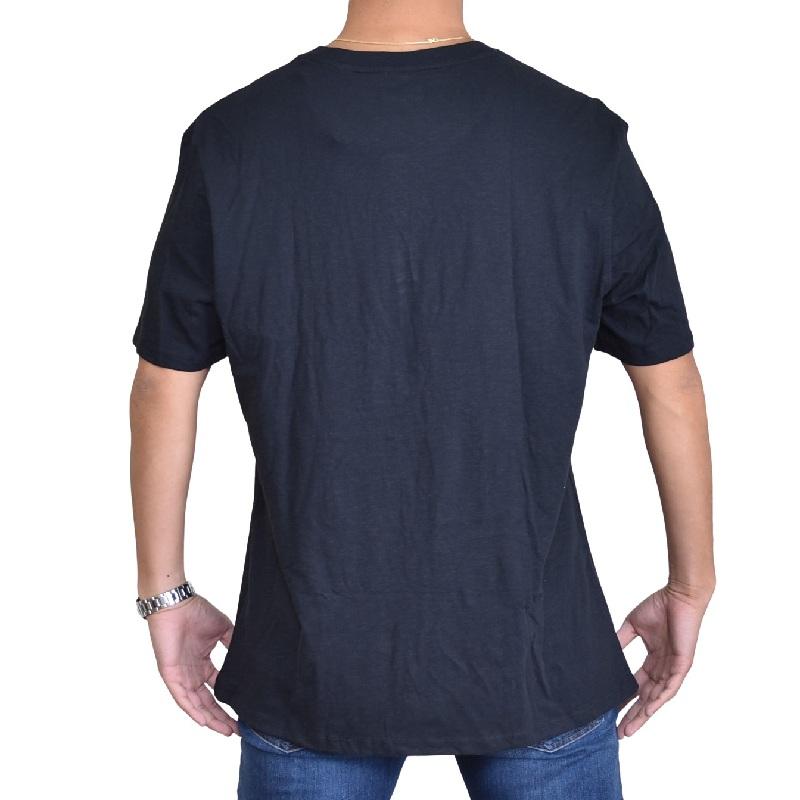 大きいサイズメンズ TOMMY HILFIGER DENIM トミーヒルフィガーデニム 半袖Tシャツ ヘンリーネック ワンポイント ブラック 黒 XL XXL 【メール便対応】 [M便 1/1]
