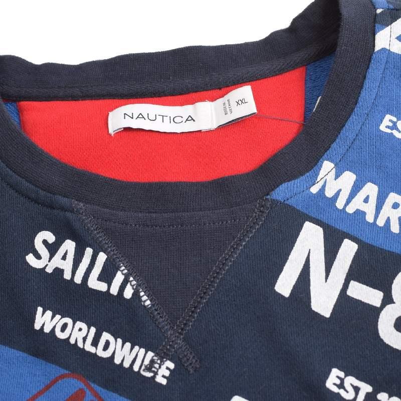 【SALE】 大きいサイズ メンズ NAUTICA ノーティカ ノーチカ クルーネック スウェットシャツ トレーナー 総柄 ネイビー 裏毛 XXL XXXL