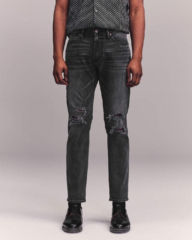 大きいサイズ メンズ アバクロンビー&フィッチ Abercrombie&Fitch スキニー ジーンズ デニムパンツ ジーパン ストレッチ ダメージ Ripped Skinny Taper Jeans W38インチ