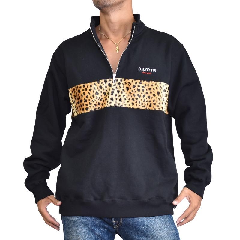 大きいサイズ メンズ Supreme シュプリーム Leopard Panel Half Zip Sweatshirt レオパード ハーフジップ スウェットシャツ XL