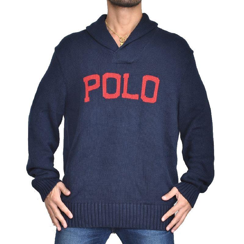 大きいサイズ メンズ ポロラルフローレン POLO RALPH LAUREN ロゴ ショールカラー ニット セーター XL XXL