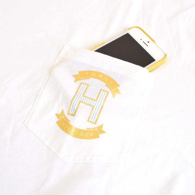 大きいサイズメンズ TOMMY HILFIGER トミーヒルフィガー 半袖Tシャツ クルーネック ポケットワンポイント 白 ホワイト XL XXL 【メール便対応】 [M便 1/1]