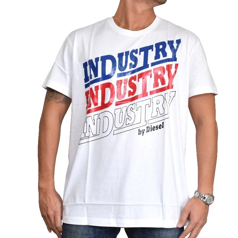 【SALE】 大きいサイズ メンズ ディーゼル Diesel クルーネック Tシャツ T-DIEGO-RA 青 白 XXL XXXL 【メール便対応】 [M便 1/1]
