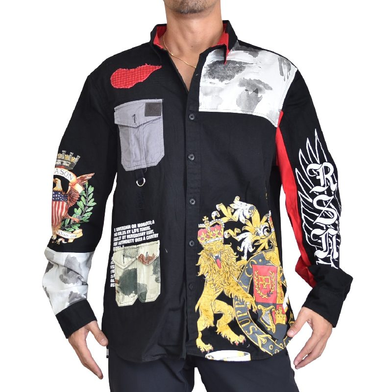 【SALE】 大きいサイズメンズ REASON CLOTHING リーズンクロージング EMPIRE SHIRT 長袖シャツ XXL XXXL