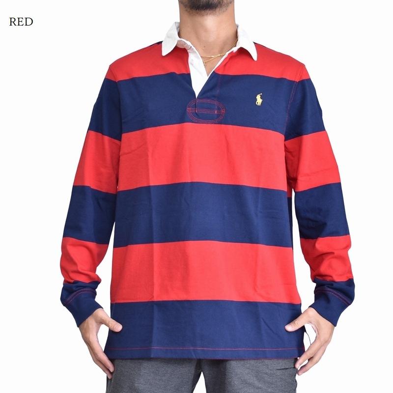 大きいサイズ メンズ ポロラルフローレン POLO RALPH LAUREN 長袖 ポロシャツ ラガーシャツ ボーダー ワンポイント イエロー レッド 赤 黄色 XL XXL