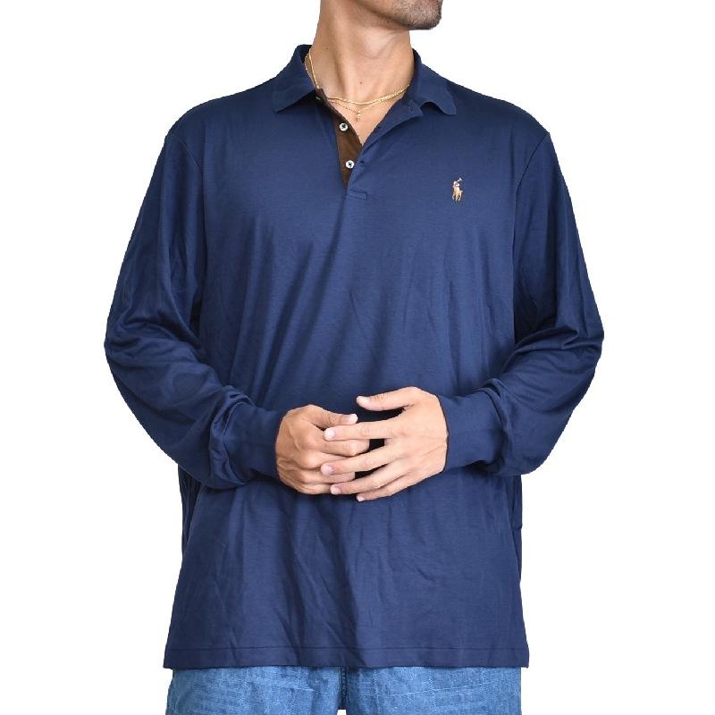 大きいサイズ メンズ ポロラルフローレン POLO RALPH LAUREN 長袖 ポロシャツ ワンポイント ネイビー 紺色 XL XXL