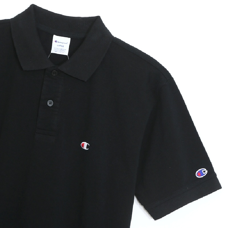 大きいサイズメンズ チャンピオン Champion 半袖ポロシャツ ワンポイント 鹿の子 ベーシック 3L 4L 5L [CH-006-E]