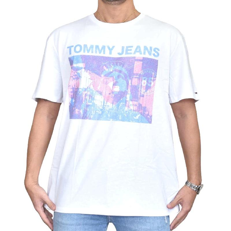 大きいサイズメンズ TOMMY HILFIGER JEANS トミーヒルフィガージーンズ 半袖Tシャツ クルーネック ロゴプリント 白 ホワイト XL XXL 【メール便対応】 [M便 1/1]