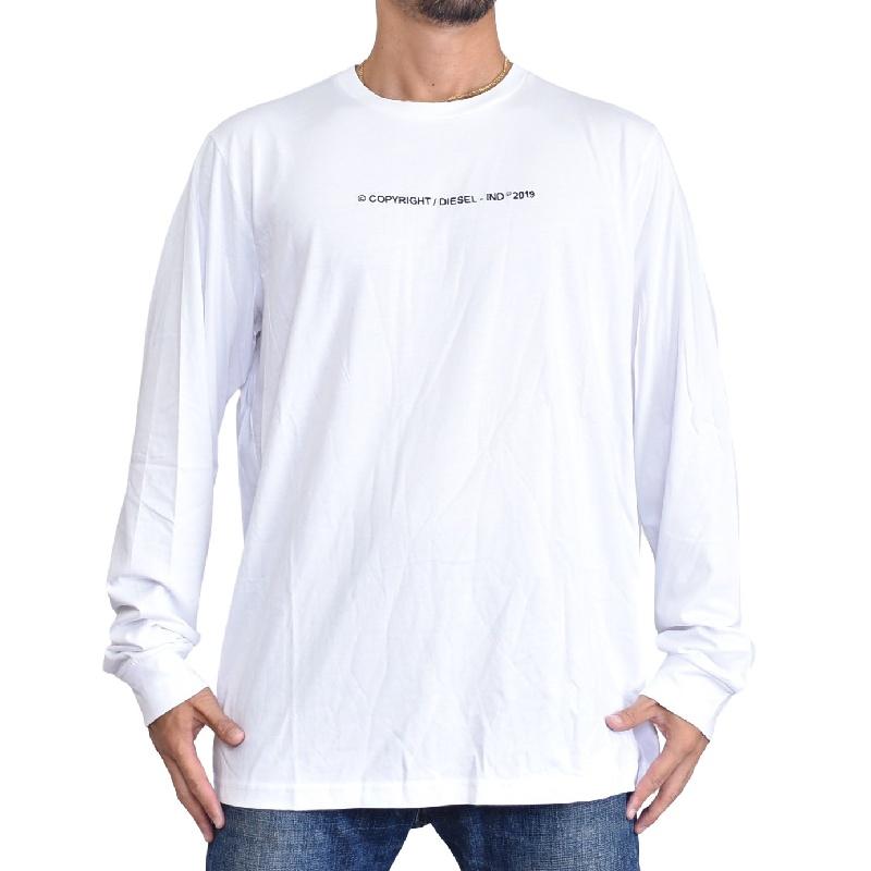 大きいサイズ メンズ ディーゼル Diesel ロンT 長袖Tシャツ T-JUST-LS-COPY 黒 ブラック 白 ホワイト XXL XXXL 【メール便対応】 [M便 1/1]