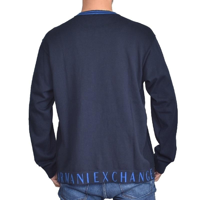 大きいサイズ メンズ アルマーニエクスチェンジ A/X ニット セーター クルーネック プルオーバー 黒 ブラック グレー ネイビー ARMANI EXCHANGE XL XXL
