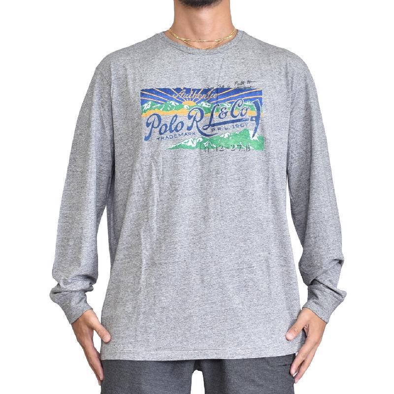 大きいサイズ メンズ ポロラルフローレン POLO RALPH LAUREN プリント 長袖Tシャツ ロンT グレー XL XXL