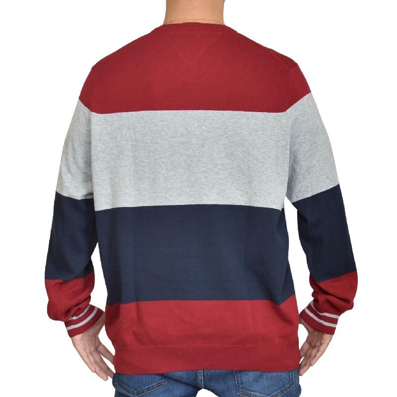 大きいサイズメンズ TOMMY HILFIGER トミーヒルフィガー クルーネック セーター ニット コットン 長袖 ロゴ刺繍 パネルボーダー XL XXL XXXL