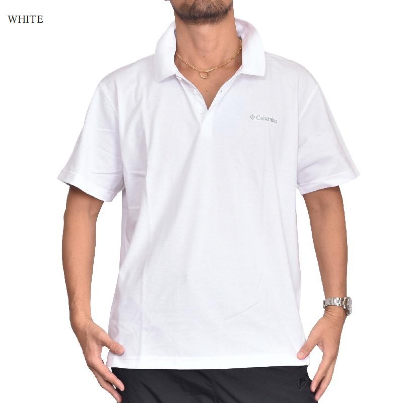 大きいサイズ メンズ Columbia コロンビア 鹿の子 ワンポイント ポロシャツ ゴルフウエア 鹿の子 黒 ブラック 白 ホワイト USAモデル XL XXL