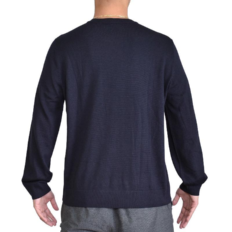 大きいサイズ メンズ アルマーニエクスチェンジ A/X ニット セーター ロゴ刺繍 クルーネック プルオーバー 黒 ブラック ARMANI EXCHANGE XL XXL