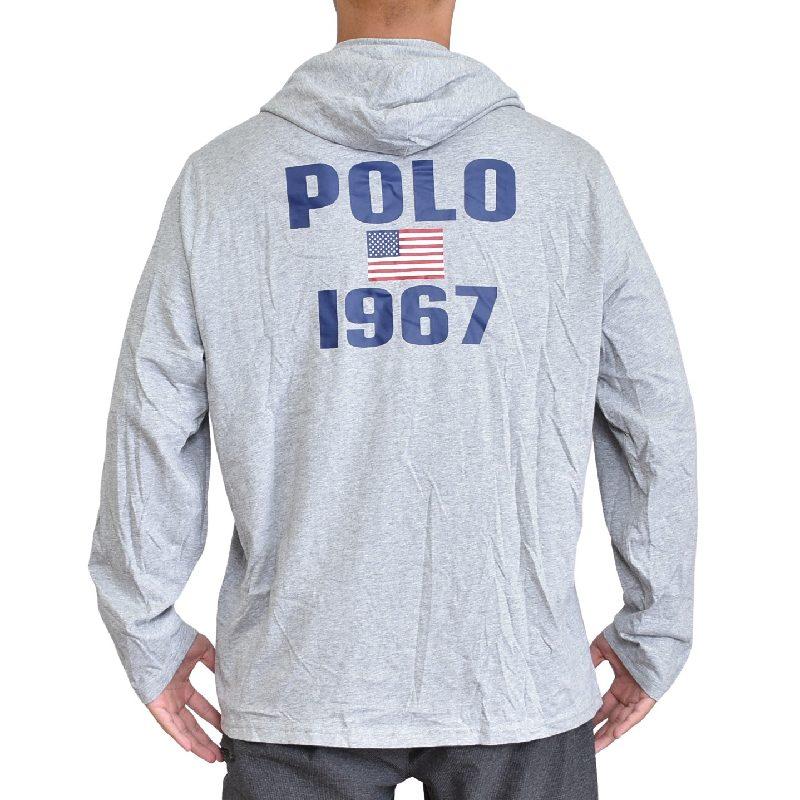 大きいサイズ メンズ ポロラルフローレン POLO RALPH LAUREN ビッグポニー フード 長袖Tシャツ ロンT グレー 白 ホワイト XL XXL