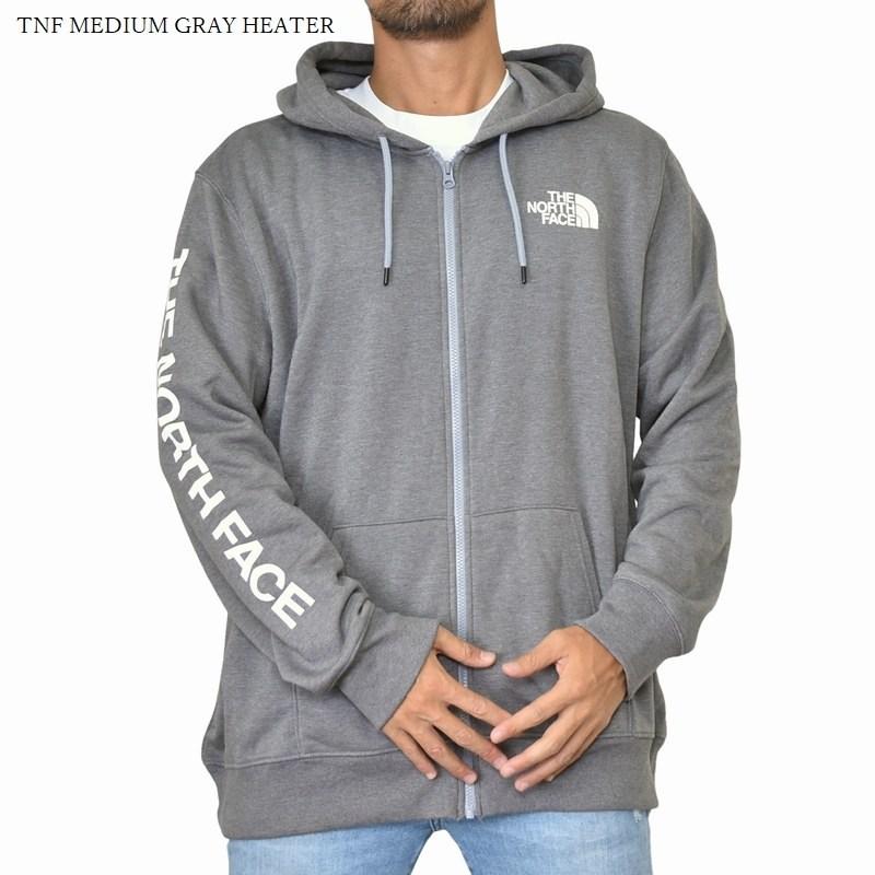 大きいサイズ メンズ ノースフェイス パーカー フルジップ ワンポイント アームロゴ 裏起毛 スウェット 黒 ブラック グレー USAモデル XL XXL