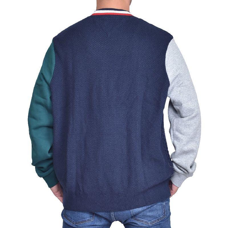 【SALE】 大きいサイズメンズ トミーヒルフィガー フルジップ セーター ニット スウェット切り返し 長袖 アウター ジャケット TOMMY HILFIGER XL XXL