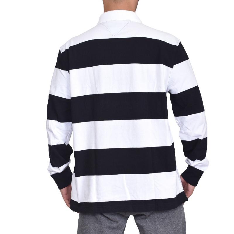 大きいサイズメンズ TOMMY HILFIGER トミーヒルフィガー ボーダー 長袖ポロ ラガーシャツ XL XXL