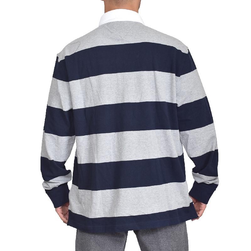 【SALE】 大きいサイズメンズ TOMMY HILFIGER トミーヒルフィガー ボーダー 長袖ポロ ラガーシャツ XL XXL