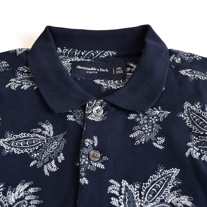 大きいサイズ メンズ  アバクロ Abercrombie&Fitch 半袖 パターン ピケポロシャツ XXL 【メール便対応】 [M便 1/1]