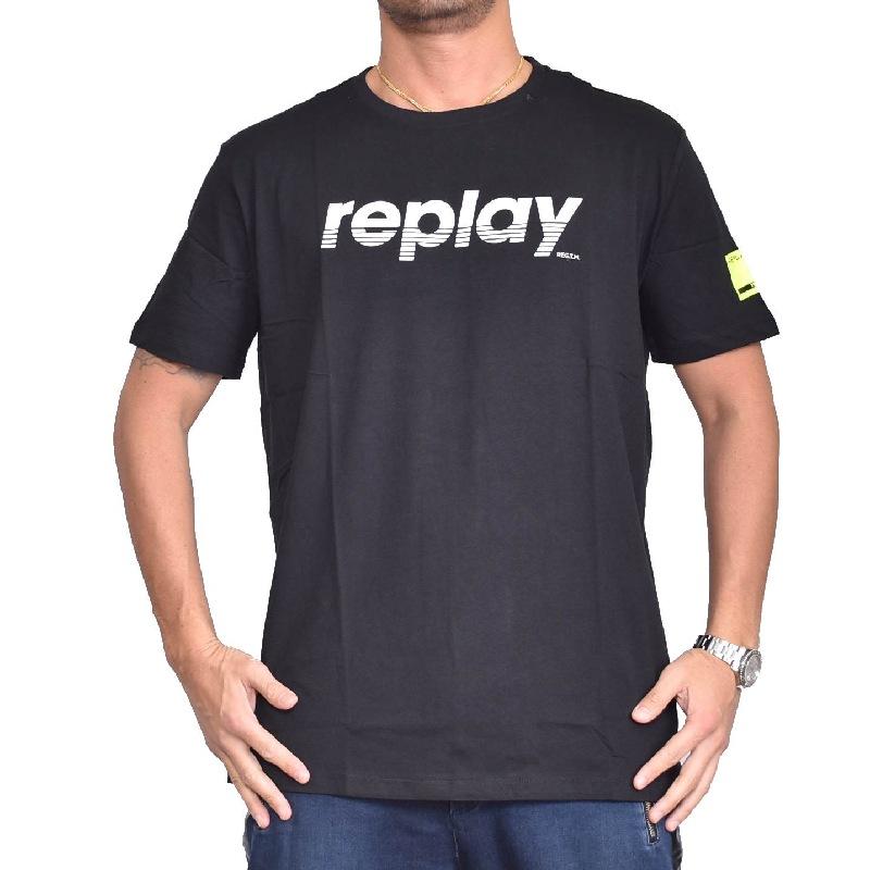 大きいサイズ メンズ REPLAY リプレイ 半袖Tシャツ プリントロゴ 黒 ブラック 【メール便対応】 [M便 1/1] XXL XXXL