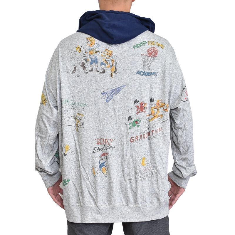 大きいサイズ メンズ ポロラルフローレン POLO RALPH LAUREN ワンポイント フードカットソー パーカー 長袖Tシャツ ロンT グレー XL XXL