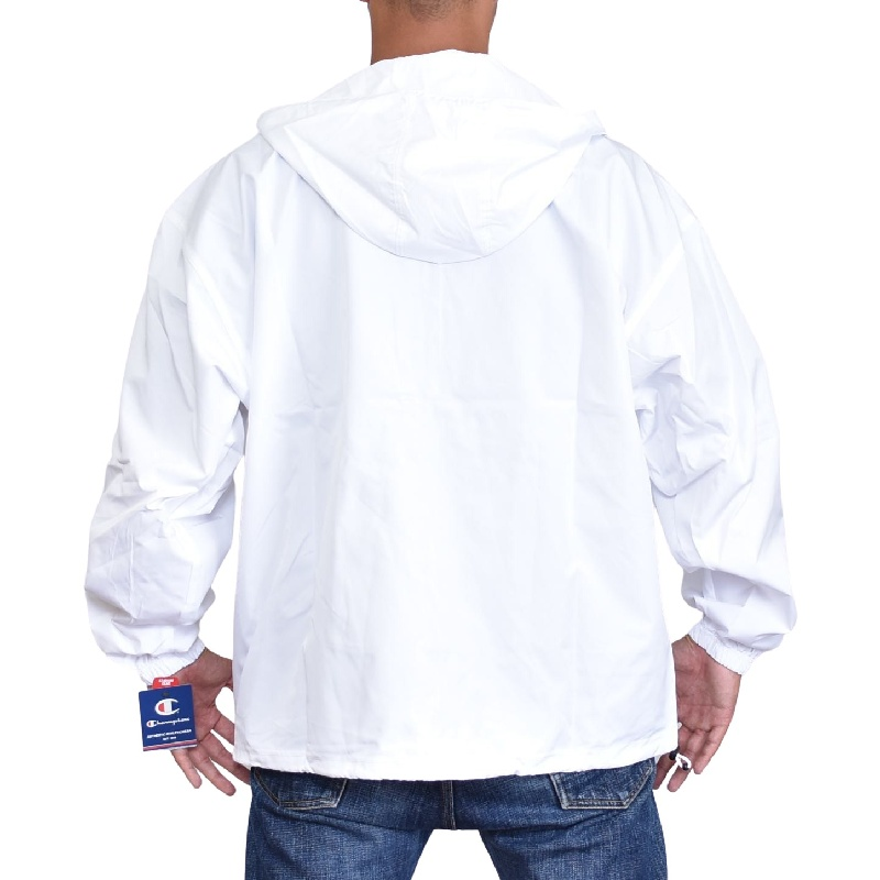 大きいサイズメンズ チャンピオン Champion プルオーバー パッカブル ジャケット ウインドブレイカー アメカジ USAモデル XL XXL 黄色 白