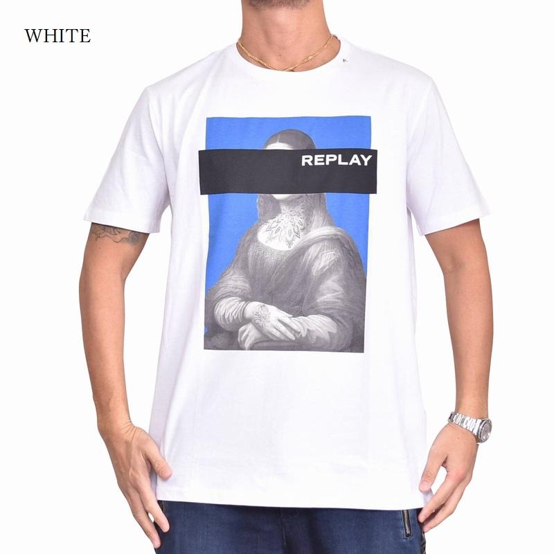 大きいサイズ メンズ REPLAY リプレイ 半袖Tシャツ グラフィックロゴ 黒 ブラック 白 ホワイト 【メール便対応】 [M便 1/1] XXL XXXL