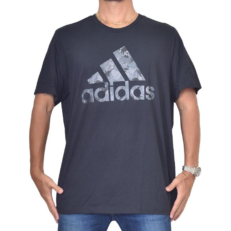 大きいサイズ メンズ adidas アディダス 半袖Tシャツ ロゴプリント 黒 ブラック グレー XXL 6XO 【メール便対応】 [M便 1/1]