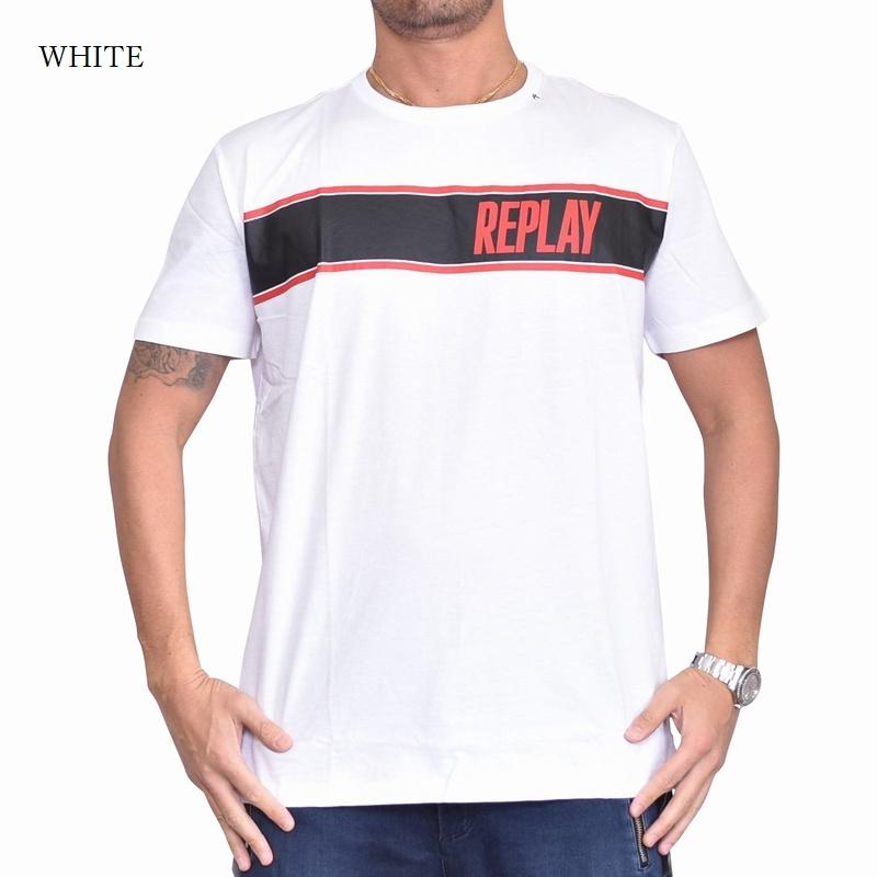 大きいサイズ メンズ REPLAY リプレイ 半袖Tシャツ ロゴプリント 黒 ブラック 白 ホワイト 【メール便対応】 [M便 1/1] XXL XXXL