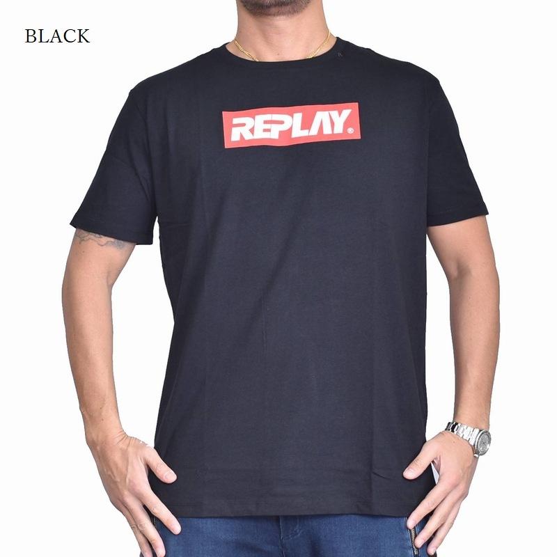 大きいサイズ メンズ REPLAY リプレイ 半袖Tシャツ ボックスロゴプリント 黒 ブラック 白 ホワイト 【メール便対応】 [M便 1/1] XXL XXXL