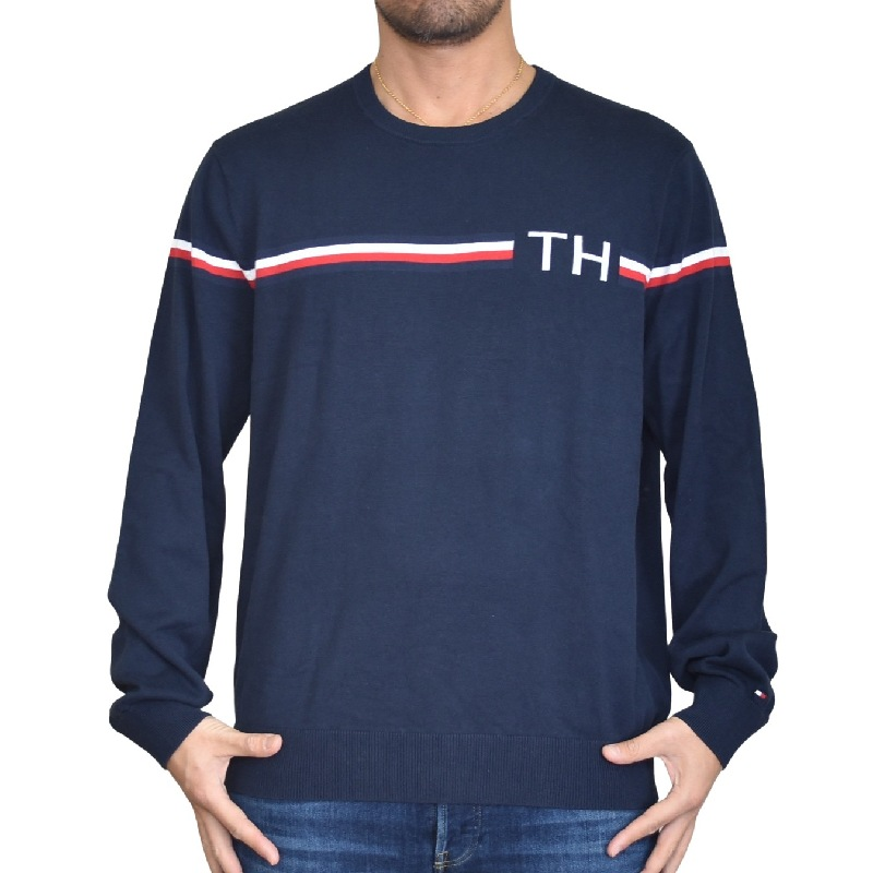 大きいサイズメンズ TOMMY HILFIGER トミーヒルフィガー クルーネック セーター ニット コットン 長袖 ラインロゴ XL XXL XXXL
