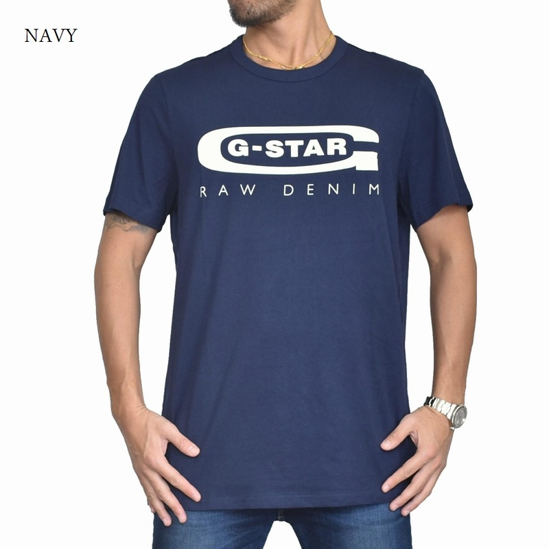 【SALE】 大きいサイズ メンズ G-STAR RAW ジースターロゥ クルーネック ロゴプリント 半袖Tシャツ 黒 白 ネイビー XL XXL 【メール便対応】 [M便 1/1]