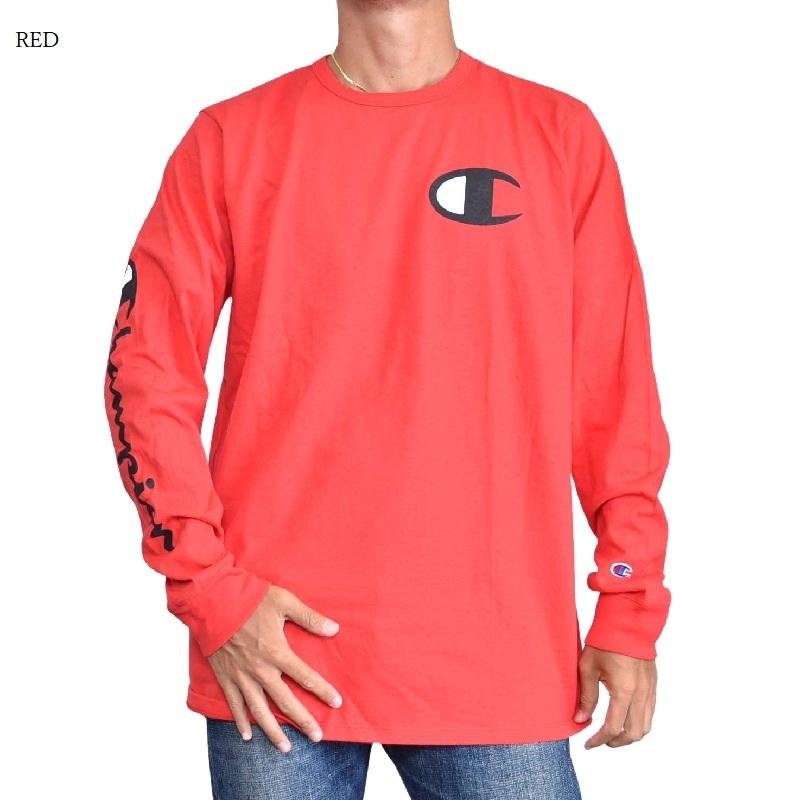 大きいサイズメンズ チャンピオン Champion 長袖Tシャツ ロンT ビッグロゴ アーム ヘリテージ アメカジ USAモデル XL XXL XXXL 黒 白 赤 ネイビー