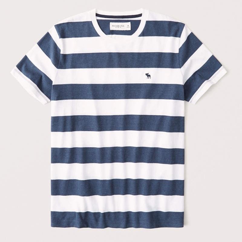大きいサイズ メンズ アバクロ Abercrombie&Fitch ボーダー ワンポイント刺繍  クルーネック 半袖Tシャツ XXL 【メール便対応】 [M便 1/1]