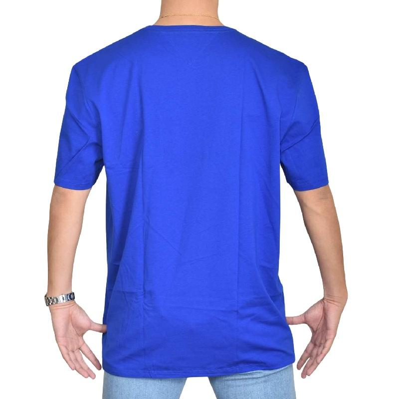 大きいサイズメンズ TOMMY HILFIGER トミーヒルフィガー 半袖Tシャツ クルーネック ポケット 白 ブルー 青 XL XXL 【メール便対応】 [M便 1/1]